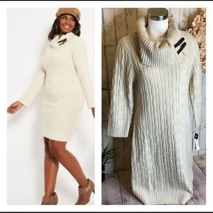 NWT Ivory Turtleneck Cable Knit Sweater Dress Med